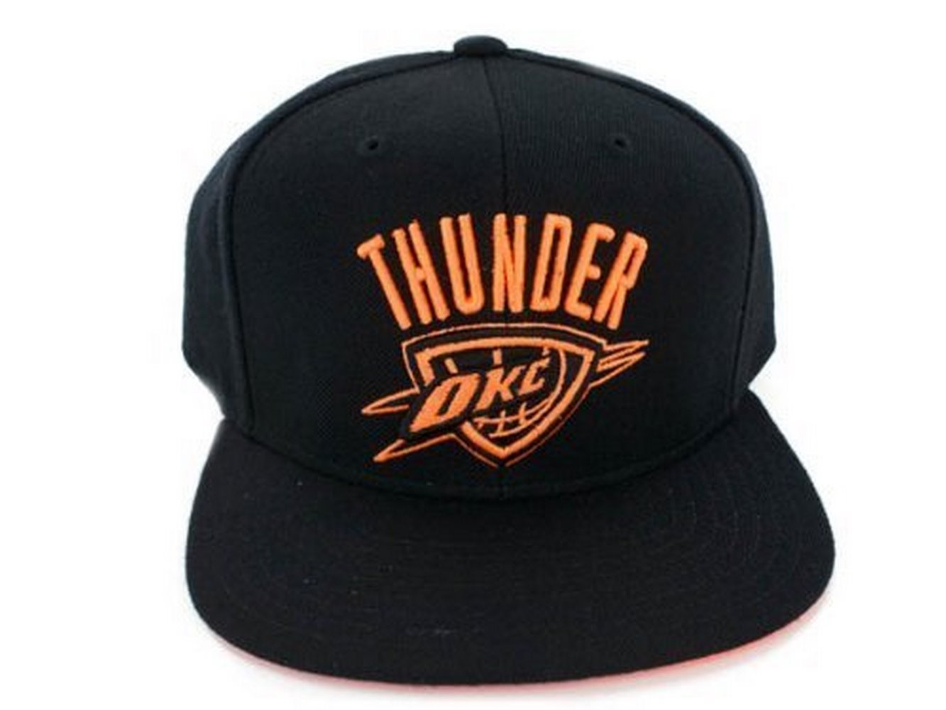 hot sale online 0d411 3041b Get Quotations · NBA Licensed Black and Neon Solid Snapback Cap Hat (OKC  Thunder)
