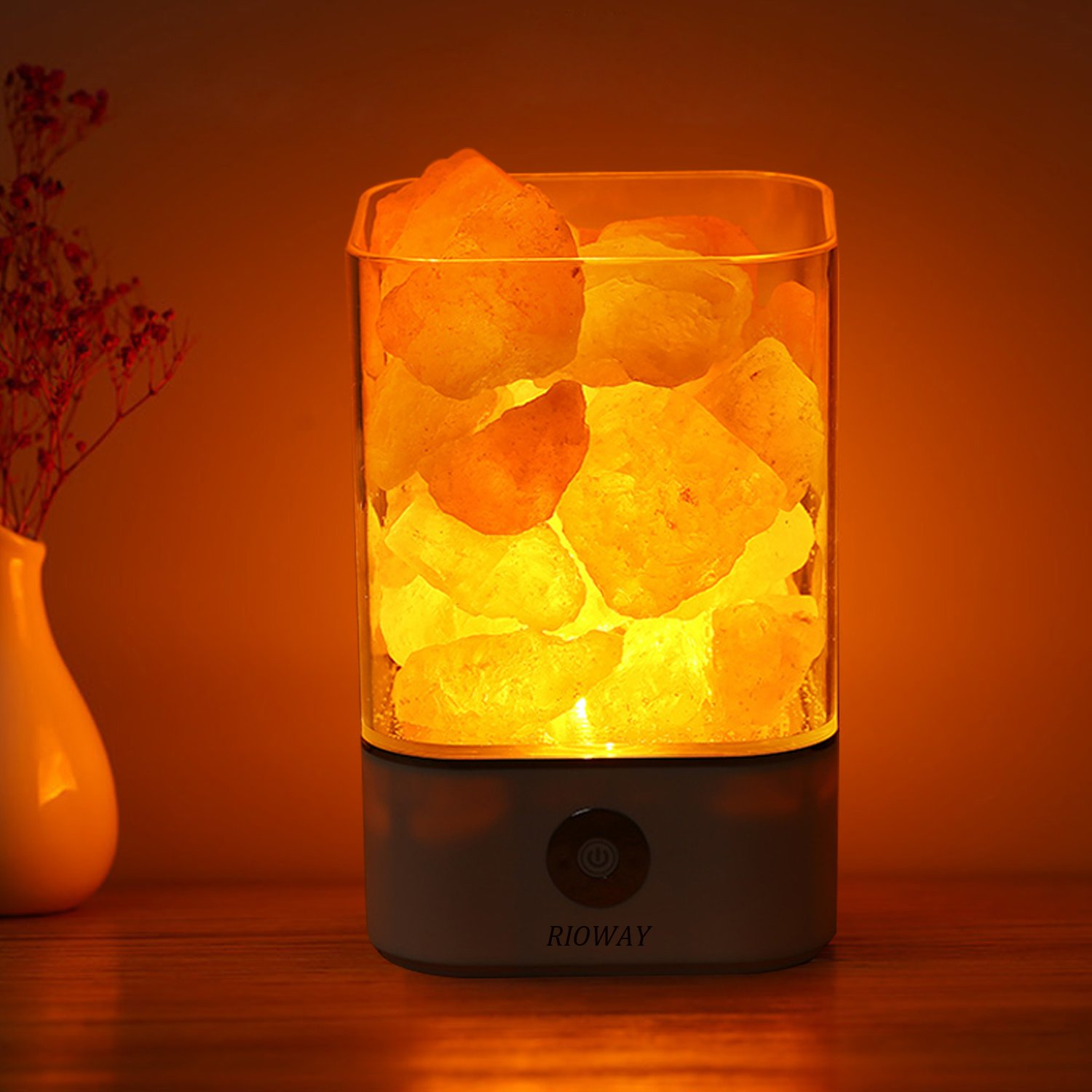 Himalayan Salt Lamp, Rioway Himalayan Pink Salt Rock Lamp with 7 Colorful Night Light, Dimmer Control, Air Purifying Ionic Natural Salt Crystal Lamp, Best Gift Idea