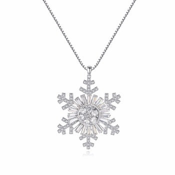 LUOTEEMI New Women Christmas Gift AAA CZ Quality Long Chain Snowflake Flower Pendant Sweater Necklace