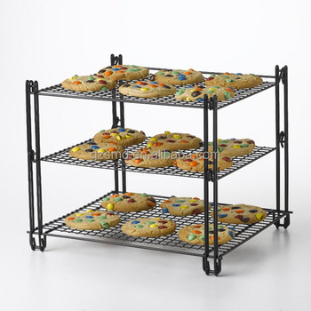 Buy Wholesale FDA Approval 3 Tier Wire Stackable Folding Cake Bakery Bread Cooling Rack