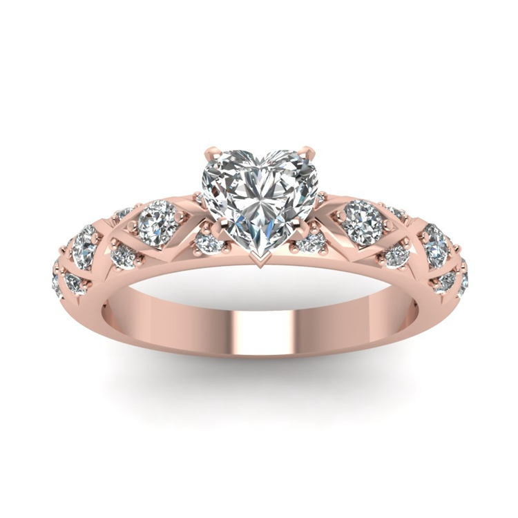 925 Sterling Silver Rose Gold Heart Arabic Engagement Rings Buy