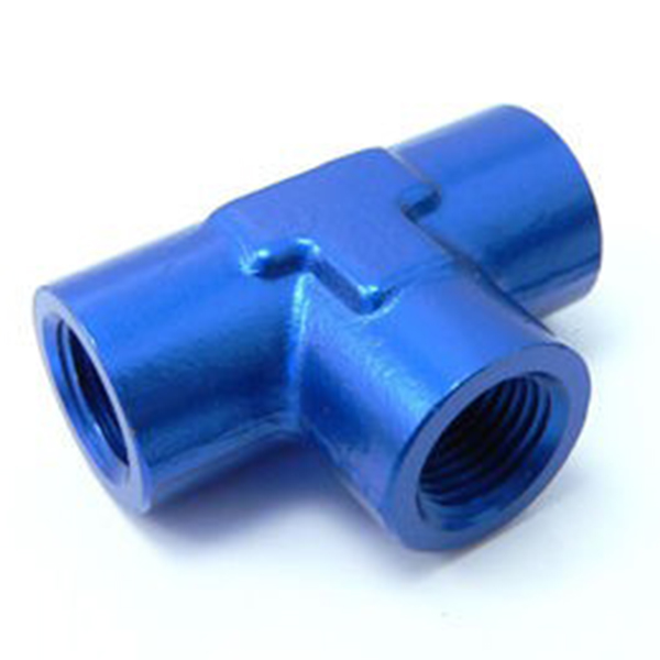 "VMT EL001 Blue Anodized Aluminum 3/8"" NPT Female Pipe Tees"