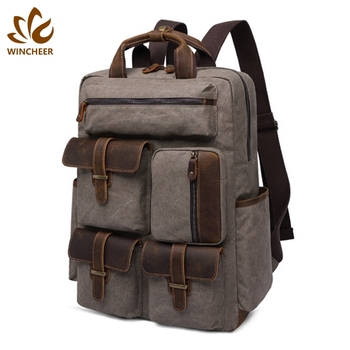 Wholesale custom practical multiple pockets men bagpack college popular mens fashion canvas new backpack