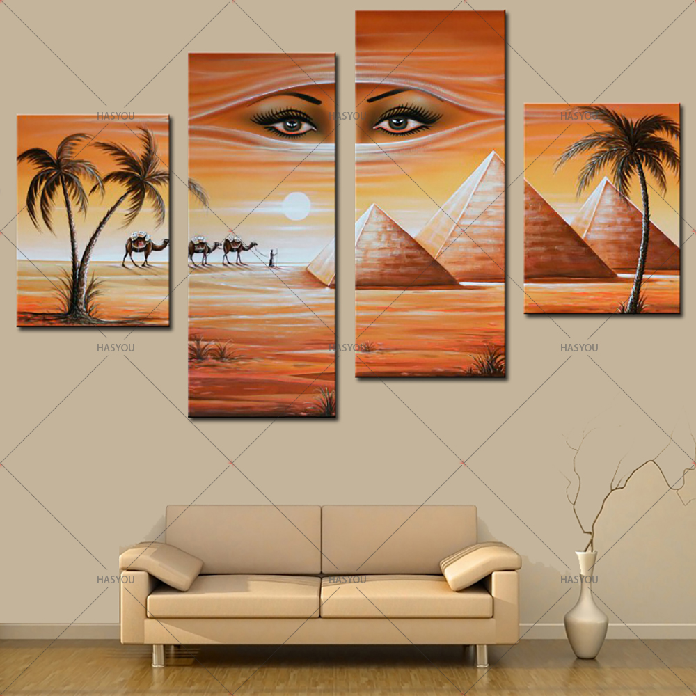 Fantasy-Oil-Painting-Egyptian-Pyramids-Landscape-Hand-Painting-Calligraphy-on-Canvas-Wall-Pictures-4-Pieces-Pictures (3)
