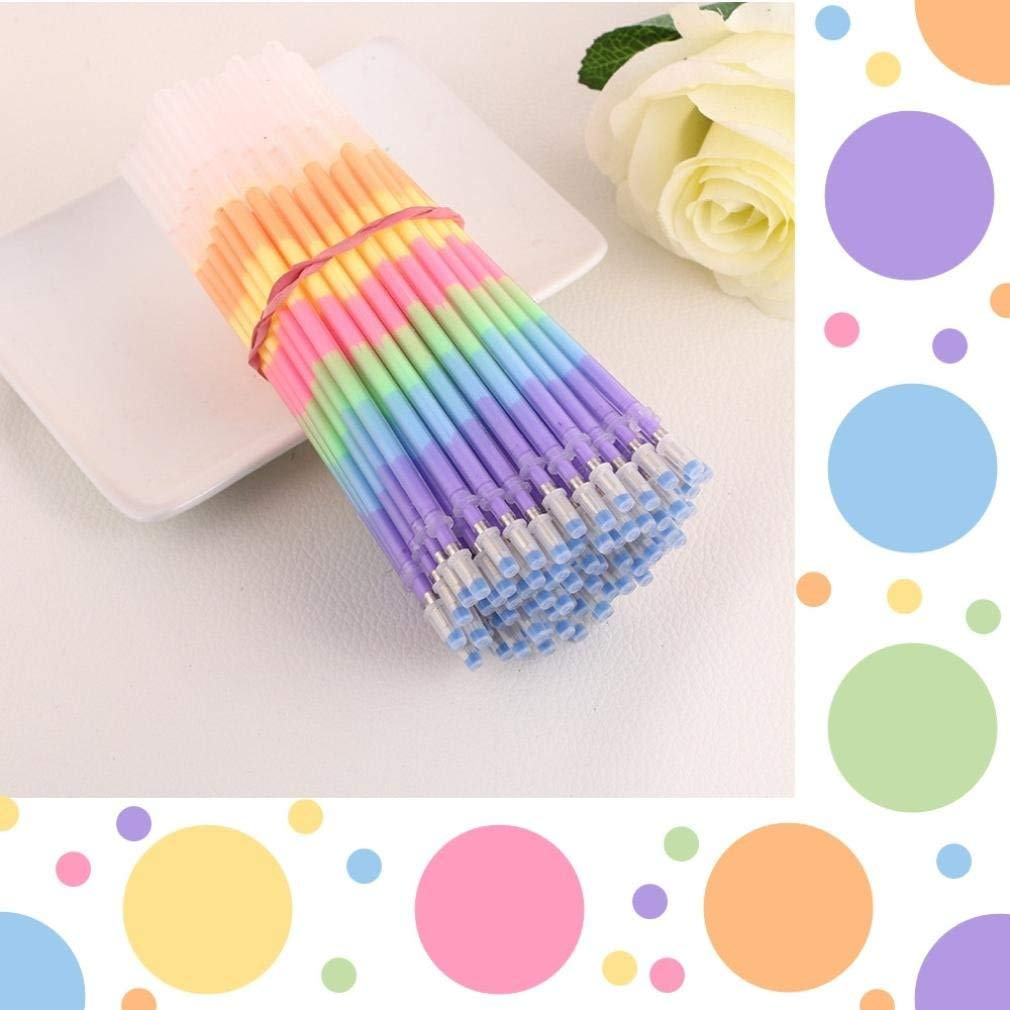 Rumas 24Pcs DIY Rainbow Gel Refills, Fade-Resistant Colored Pen for Sketching Adult Coloring Book Illustration, Neon Glitter Rollerball Pen for Students Teachers (Multicolor)