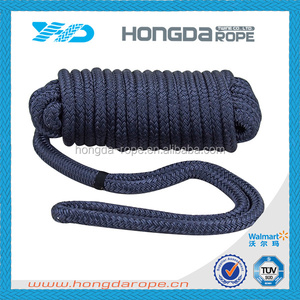 18 mm polyester braided mooring rope for ship with eye splice ring