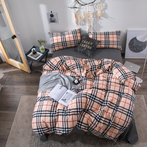 Luxury Checked 100% Cotton King Size Bedroom 4PCS Bedding Sets