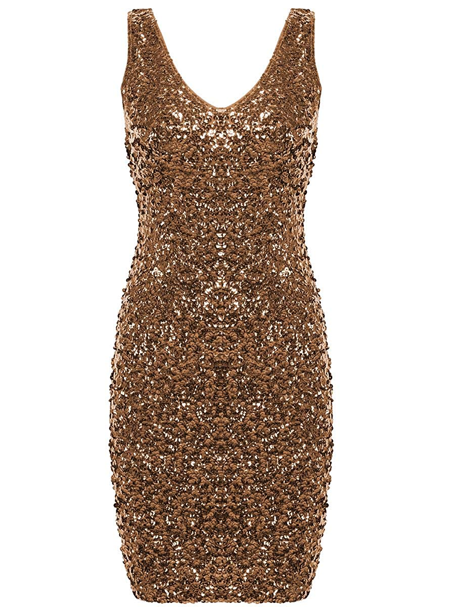 938d9dbe Get Quotations · PrettyGuide Women's Sexy Deep V Neck Sequin Glitter  Bodycon Stretchy Mini Party Dress