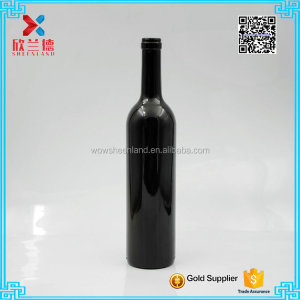 wholesale 750ml black glass wine bottle with cork