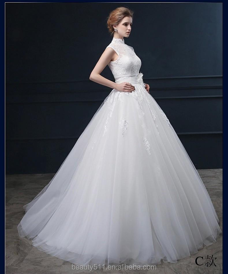 העיצוב האחרון Appliqued אונליין צווארון גבוה ללא שרוולים באורך רצפת כלה  תחרה שמלת כלה WD1864-שמלות חתונה-מספר זיהוי ...
