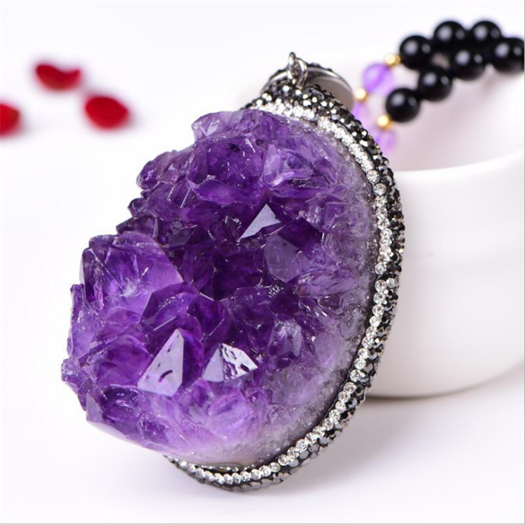 Wholesale Customized Personality <strong>Natural</strong> <strong>Amethyst</strong> Cluster <strong>Pendant</strong>