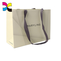 Delicate Gift Packaging Durable Simple Design Print Ribbon Handle Paper Bags