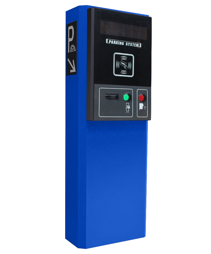 Parking lot ticket machine for temporary card parking and monthly pay