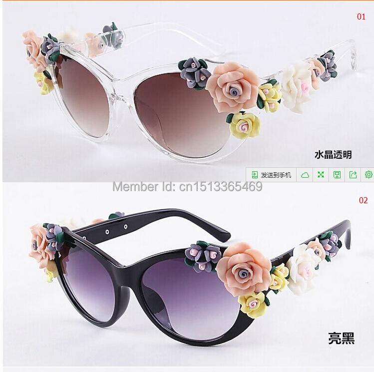 5676bb293ca94 Get Quotations · Retro sunglasses baroque flowers Ms summer fashion  sunglasses on the beach Stereoscopic glasses rose