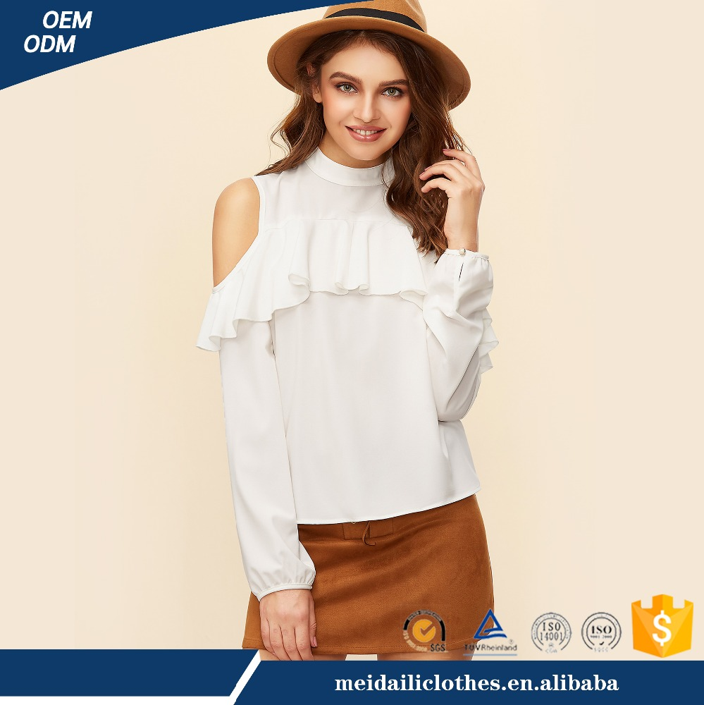 wholesale price latest popular women top cold shoulder white t-shirt