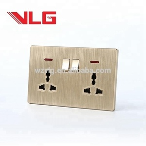 2 gang 6 pin MF electric wall socket with neon