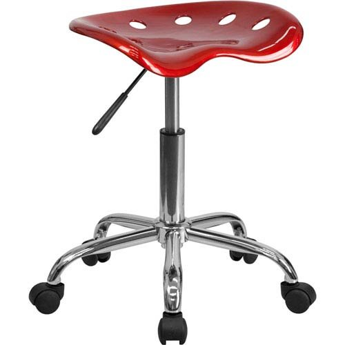 Parkside Vibrant Wine Red Tractor Seat and Chrome Stool