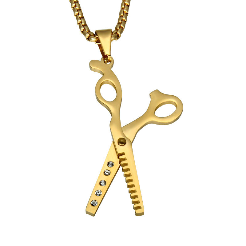 Fashion Stainless Steel Haircut Scissors Gold Charm Necklace