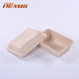 Cheap custom printing take away sugarcane bagasse food package take away pulp paper box with cover