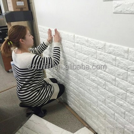 2017 3D bricks texture wall paper XPE foam wall sticker