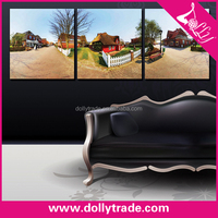 3 panel village scenery paintings on canvas wall art
