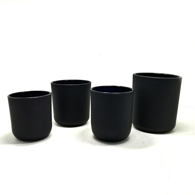 pure black glass candle holder