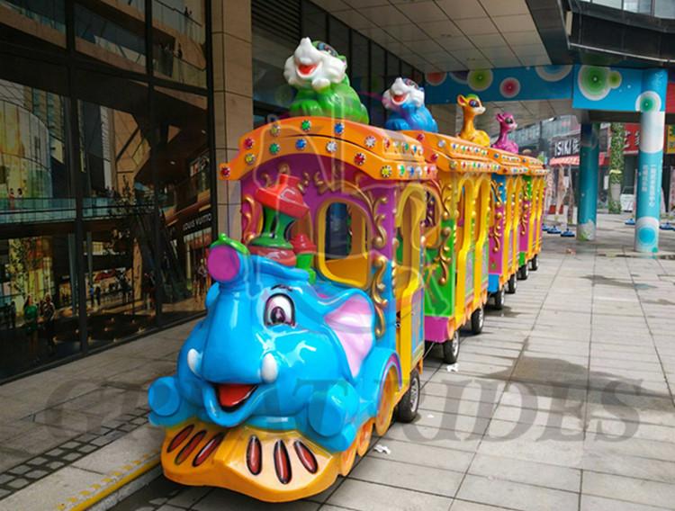 Produtos parque de diversões monta crianças jogos de diversões elefante estilo competitivo mini elétrico tracless trem para venda