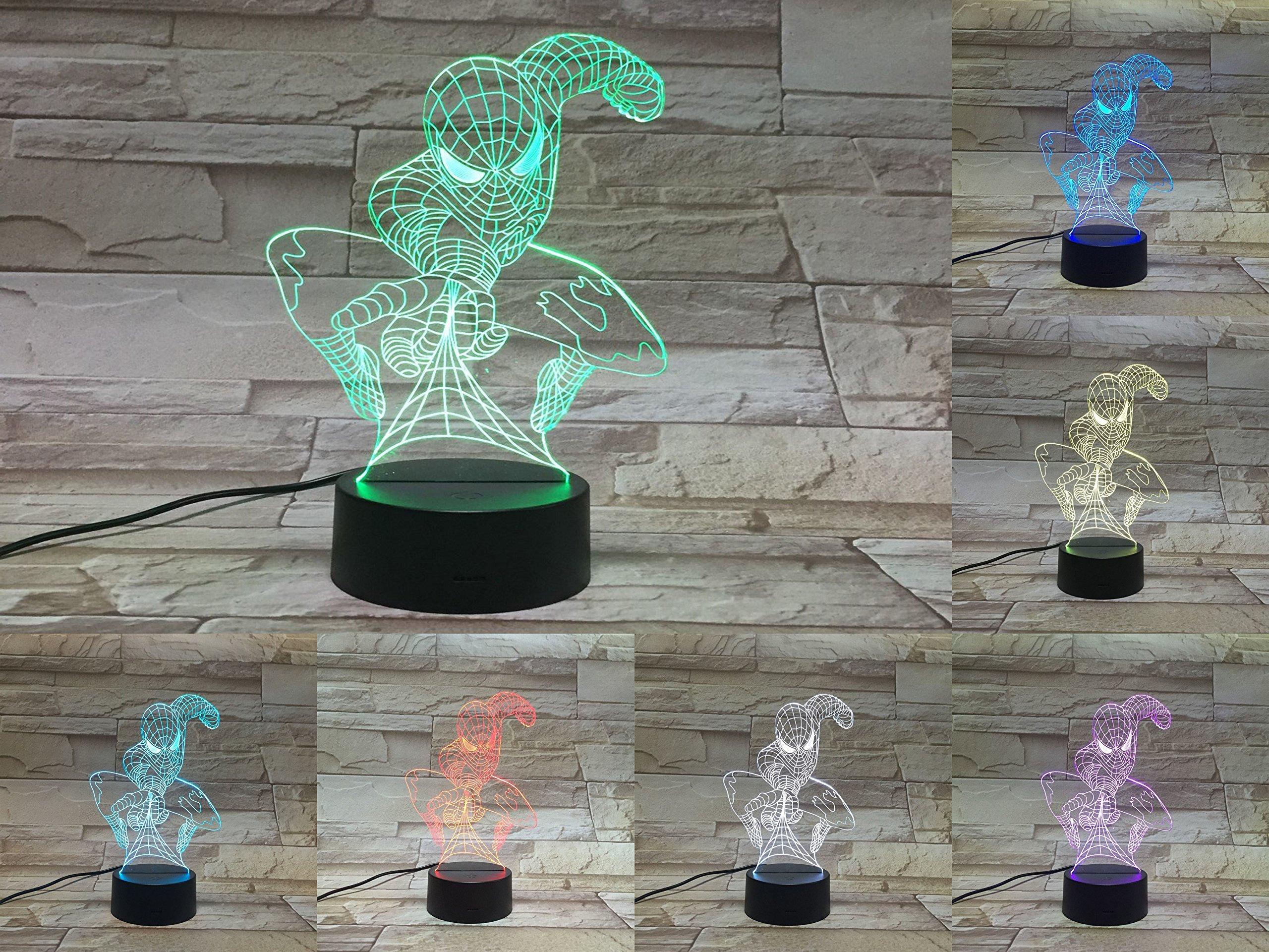 LE3D 3D Optical Illusion Desk Lamp/3D Optical Illusion Night Light, 7 Color LED 3D Lamp, Marvel Comics 3D LED For Kids and Adults, Spider-Man Light Up