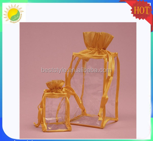 High grade gold satin custom logo print pvc organza bags