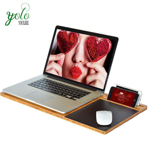 Bamboo Lap Tray Stand, Student LapDesk Slate Board with Cooling and Mouse Pad
