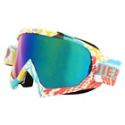 Anti UV newest design printed colorful frame motorcycle googles with tear off