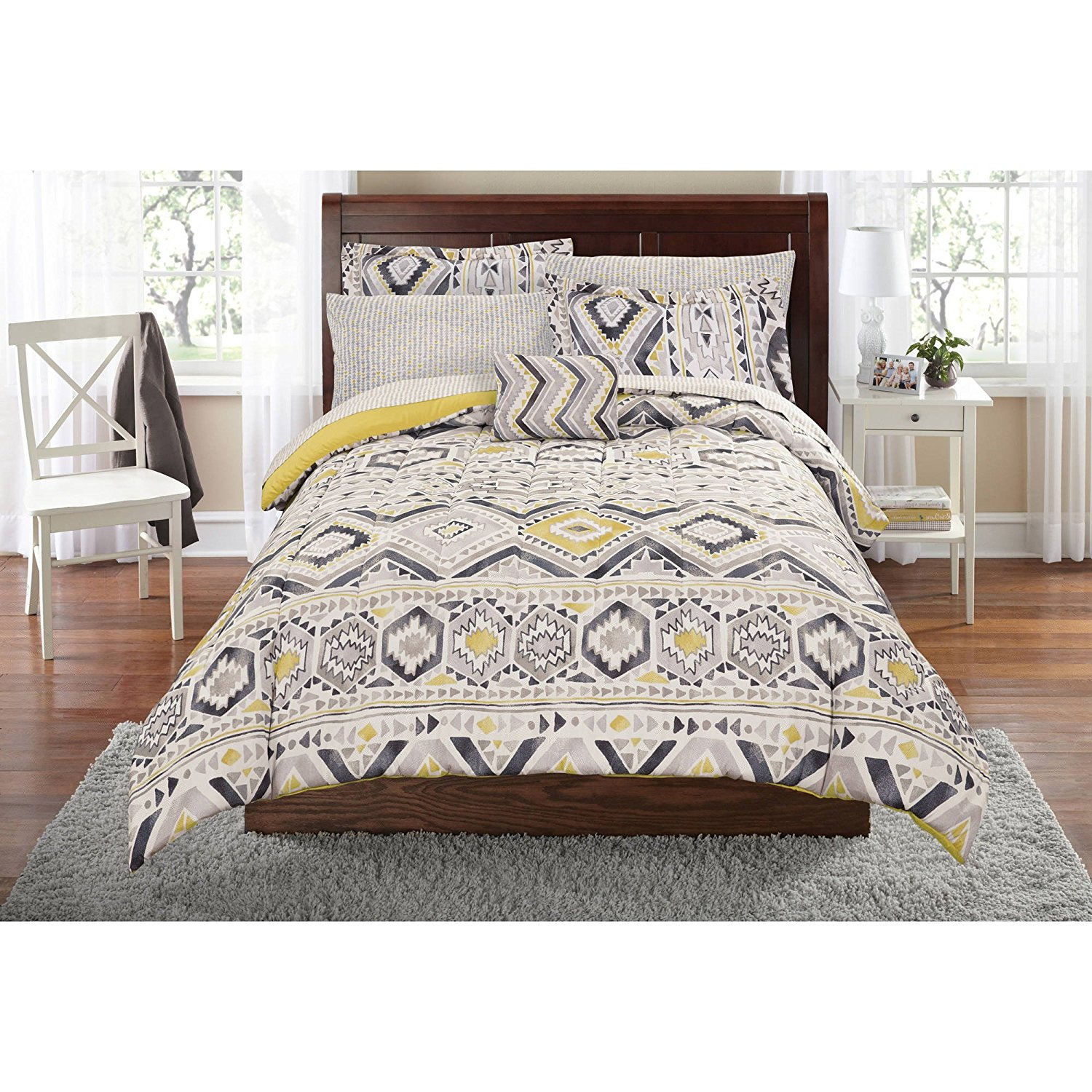 8 Piece Grey Yellow Southwest Comforter Full Set, Aztec Gray Native Tribal Bedding Geometric Chevron Zig Zag Stripes Honeycomb Pattern Southwestern Colors Indian Motif, Polyester