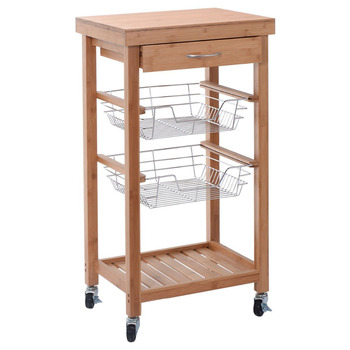 Small Butchers Block Wooden Kitchen Trolley