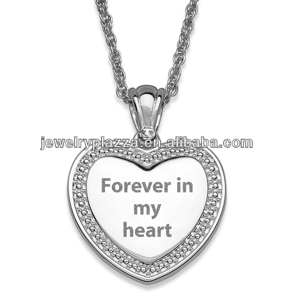 925 Sterling Silver Jewelry Wholesale Beaded Framed Engraved Heart Necklace