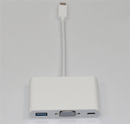 factory price USB 3.1 Type C to VGA Monitor USB OTG Charger Adapter for Apple New Macbook 12''