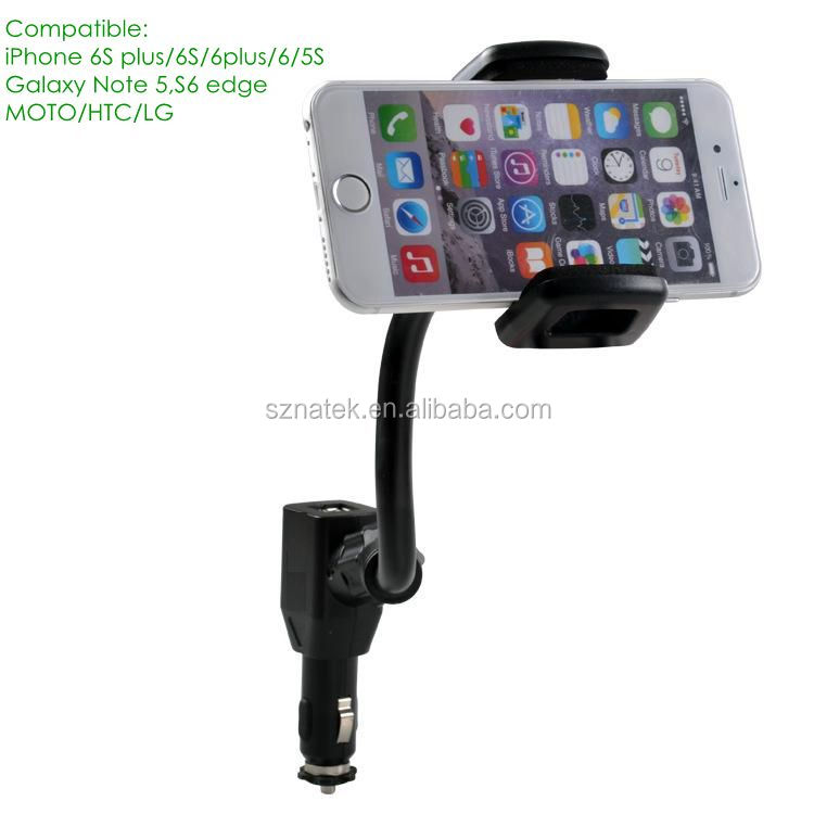 5V3.1A Car Phone Mount Car Mount Universal Cell Phone Holder Stand with 2 Dual USB Charger