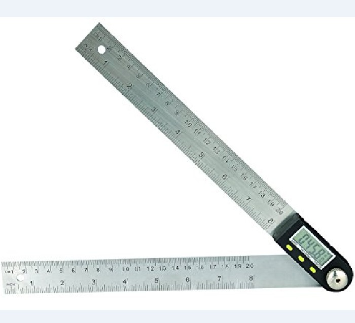 "Saili Digital Protractor Goniometer Angle Finder Miter Gauge Stainless Steel Ruler 8 Inch 200mm 8"" 360 degree Digital Angle Rule"