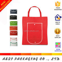 wholesale cheap custom recycled folding biodegradable bag with pocket