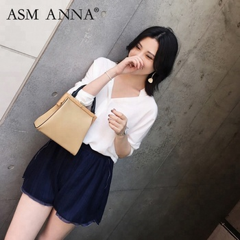 ASM ANNA 2019 New summer women clothing new style pleated wide-leg shorts in navy blue