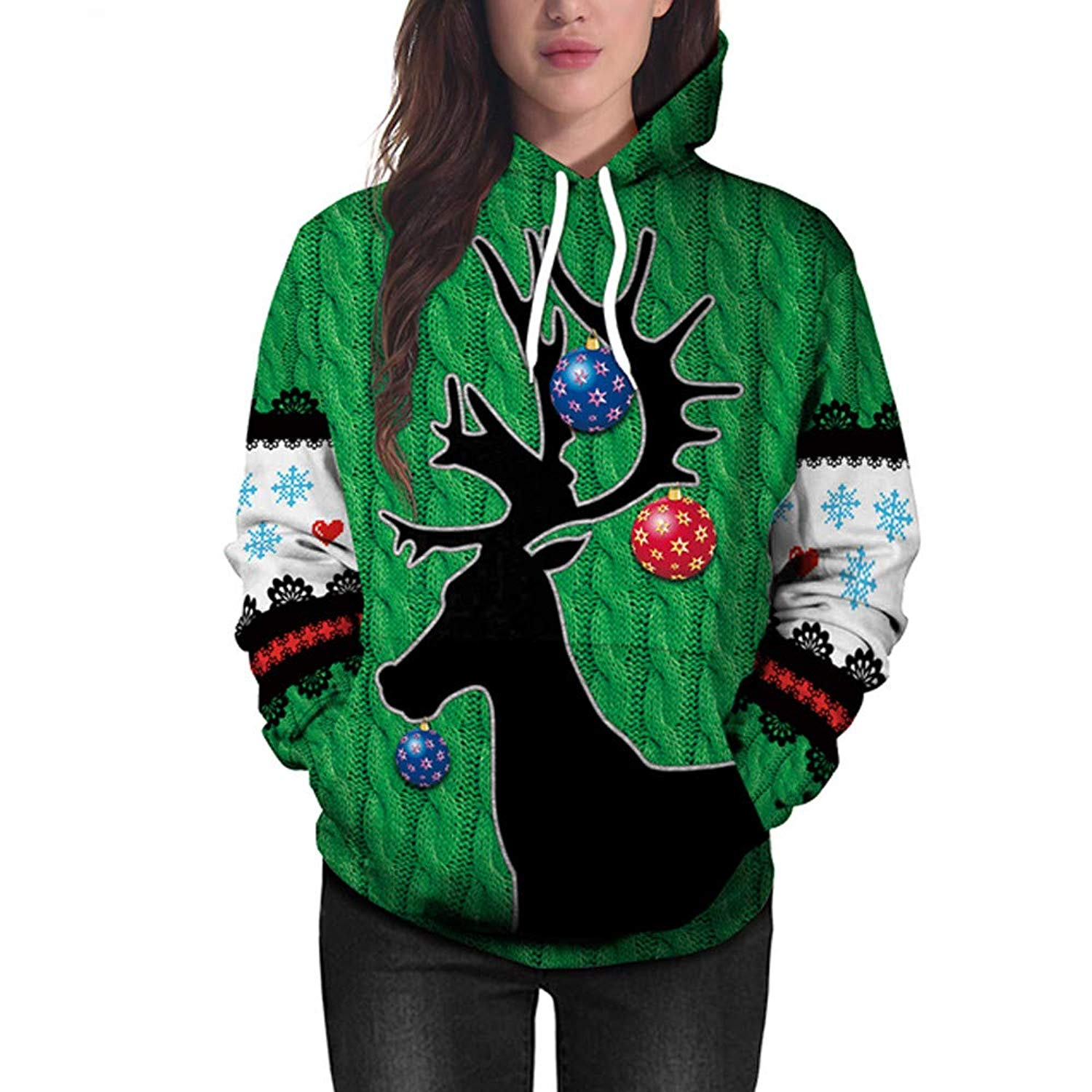 BOLUOYI Crop Tops for Women,Women Christmas Deer 3D Printing Long Sleeve Hoodie Sweatshirt Pullover Top