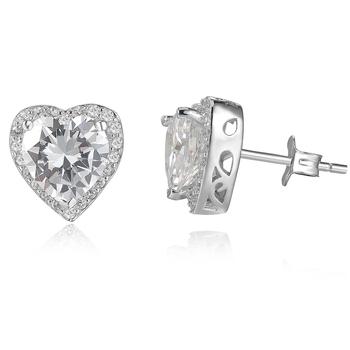 Custom China Designer White Gold Heart Earrings Beautiful Simple Silver Natural Stone Crystal Diamond Stud