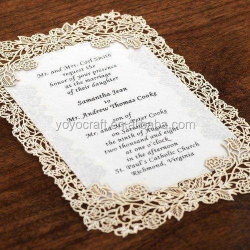 alibaba wedding card suppliers hot sale wholesale price good quality luxury handmade lace laser cut wedding invitation card