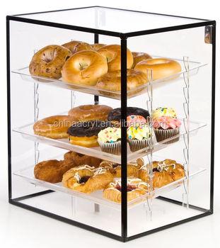 Eco friendly Acrylic Key Lock Plastic Food Storage Container Box