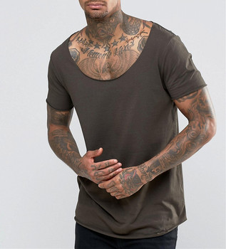 a63155697c7a1 Wide Neck Light Weight Longline T-Shirt With Raw Scoop Neck And Curved Hem