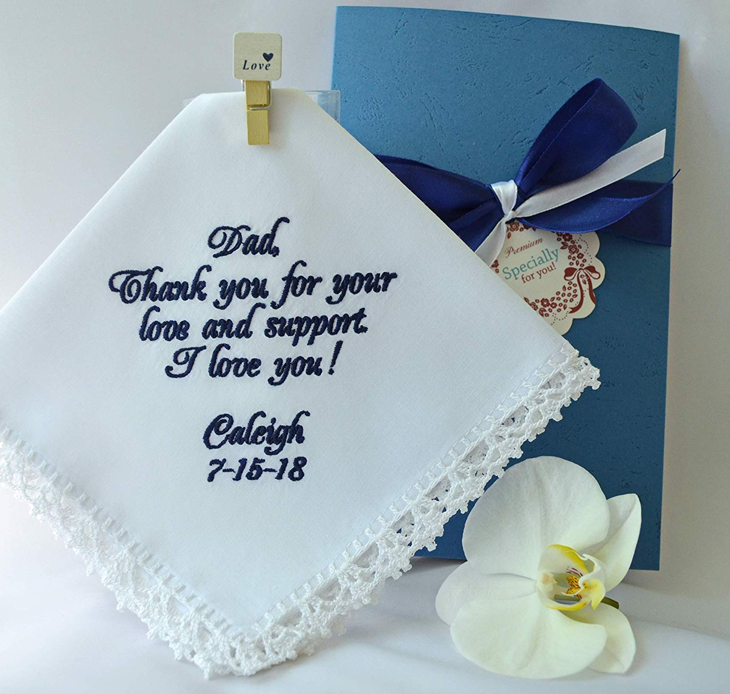 Father of the bride Wedding Handkerchief Gift for Dad from the Bride Embroidered Navy wedding hankerchief hanky hankie Personalized Custom Handmade Wedding keepsake Wedding favors Wedding gift parents