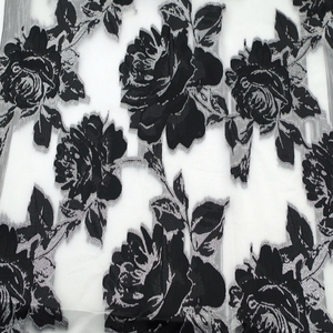 High quantity black rose jacquard organza embroidery lace fabric