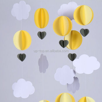 Baby Shower Decor Yellow Circle And White Cloud Pastel Paper Hot Air Balloons Garland