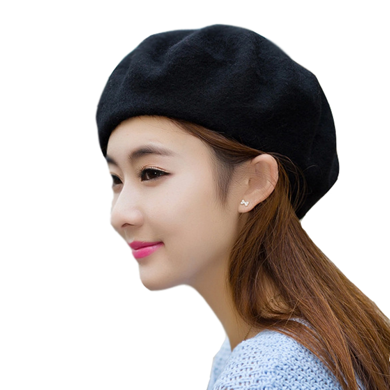 af62a57ba66 Get Quotations · 100% wool candy color soft elastic casual adult women  winter Berets women hat winter candy