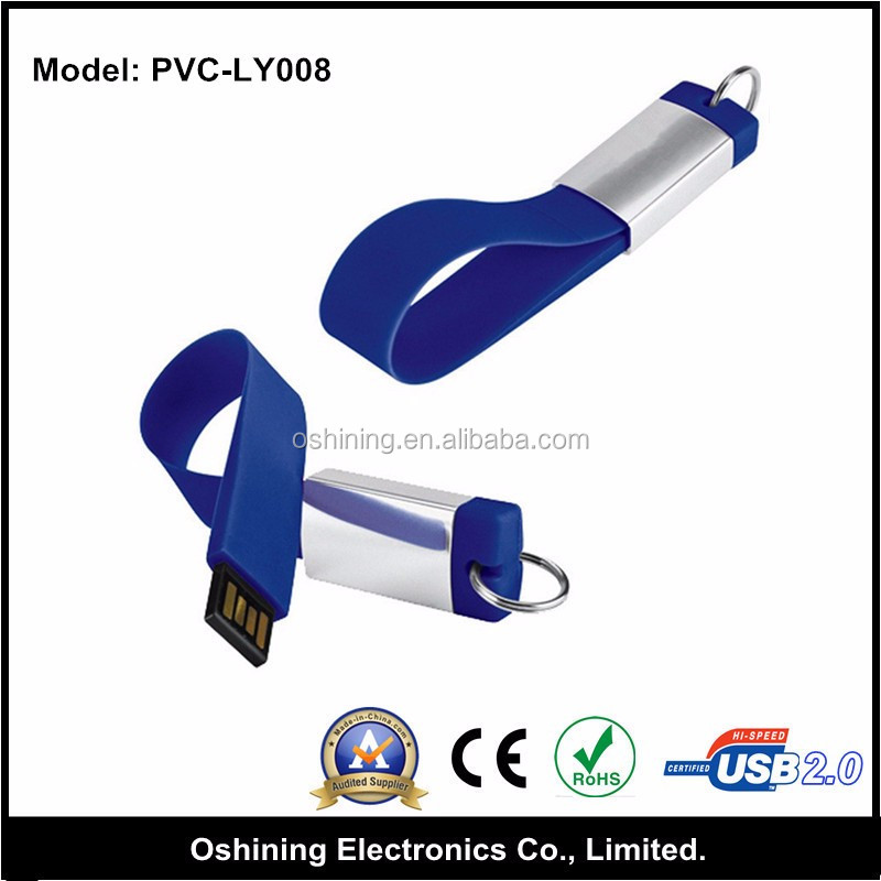 Free sample key ring USB 3.0 32 GB flash drive, cheap silicone bracelet USB pen drive accessories (PVC-LY008)