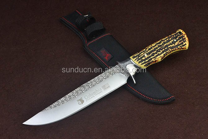 Wolf Columbia 3Cr13Mov Steel Blade Metal Bolster Roasted Bone Handle Knife Damascus Satin Finish Fixed Blade Hunting Knife